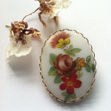 Porcelain Flower Pin, Cameo Flower Brooch, Hand Painted Cameo Brooch, Fall Colors Jewelry, Vintage Flower Cameo Pin, Fall Brooch, Christmas