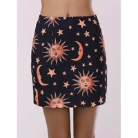 Fashionable Moon Print Bodycon Mini Skirt - Black L