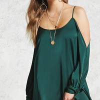 Satin Open-Shoulder Dress
