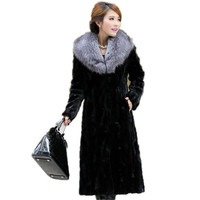 2016 New Winter Luxury Women Spliced Mink Fur Coat Fox Fur Collar Loose Big Yards Thicken Warm Long Section Fur Outerwear A1273