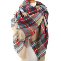 Red And Tan Blanket Scarf, Plaid blanket scarf, tartan scarf, oversized plaid scarf, Zara style plaid scarf, blanket scarves, Fall Scarf , Available in 6 Colors