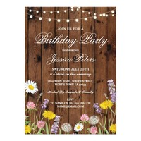 Birthday Party Floral Wild Flowers Wood Invite