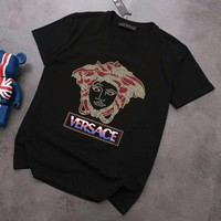 Versace new tide brand hot drilling cotton casual wild round neck T-shirt top Black