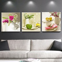 3 Pcs Canvas paintings for kitchen fruit wall decor modern flowers canvas art wall decorative pictures for living room No Frame