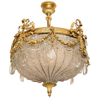 A Beautiful Gilt Bronze Ribboned And Wreath Beaded Chandelier By E. F. Caldwell