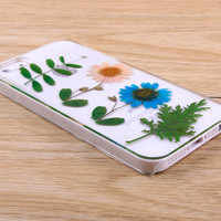 Pink Blue Daisy pressed flower iPhone case Galaxy case 032