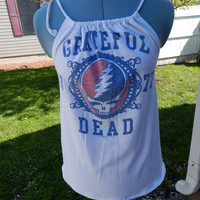 The Grateful Dead Upcycled Women's Tank Top T-shirt OOAK Shirt Summer Shirt, Festival Clothes, Halter Top, hippie clothes