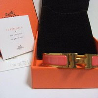 Authentic Hermes Clic Clac H Bangle Bracelet Rose Pink Enamel Gold tone with Box Tagre™