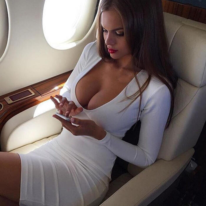 Image of Fashion Low Cut V-neck Tight Dress