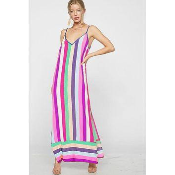 Rainbow Striped Dress - Fuchsia