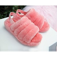 """UGG"" Winter High Quality Autumn Winter Popular Women Cute Fluff Yeah Slippers Shoes Rose Red I/A"