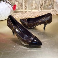New Arrivals LV Louis Vuitton Women Trending Leather Black coffee High Heel Shoes Boots Best Quality