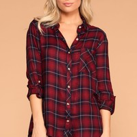 Campout Burgundy Plaid Top