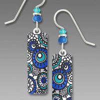 Adajio Earrings - White Column with Turquoise and Blue Circles