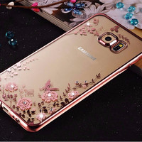 For Samsung Galaxy J3 J5 J7 2016 S7 Edge S6 A3 A5 A7 Note 3 4 5 Grand Prime Plating Case Cover Soft TPU Flower Flora Phone Cases