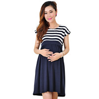 Top Quality 2016 Casual Round Collar Short Sleeve Striped Dress Maternity Clothes for Pregnancy Women Breastfeeding Mother