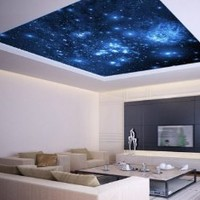 "Ceiling LAMINATED STICKER MURAL space blue stars galaxy night decole poster 93""x93"""