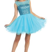 Short Key Hole Back and Lace Prom Dress in Blue