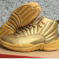 Air Jordan 12 Retro AJ 12 Gold Men Women Basketball Shoes