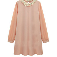 Beaded Neckline Chiffon Shift Dress