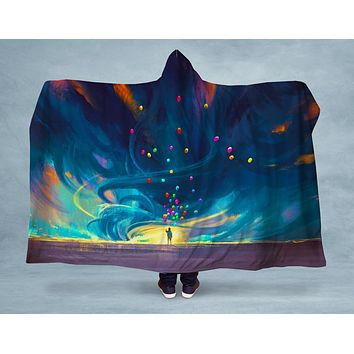 Flying Balloons Hooded Blanket