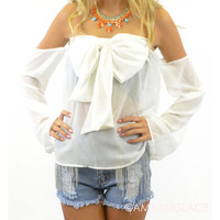 Beta Off Shoulder Long Sleeve Bow Top Ivory