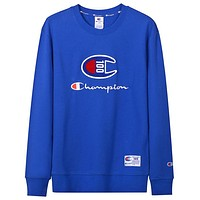Champion cotton men and women anniversary embroidered letter round neck long sleeve sweater Blue