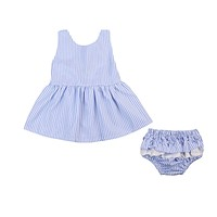 Kid Girls born Toddler Baby Girls Striped Tutu Princess Bow Dress+ Triangle shorts Outfits