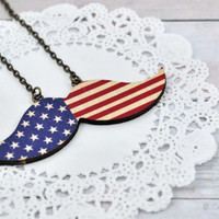 Patriotic Mustache Necklace, American Flag, Wood Necklace, Red, White and Blue, Patriotic Jewelry, Stars and Stripes Necklace,4 July Jewelry