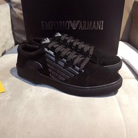 Armani Men's Suede Leather Fashion Low Top Sneakers Shoes