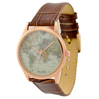 Map Watch (World 2) in Rose Gold Case with Brown Strap