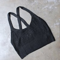 basic slouchy knit crop top - black