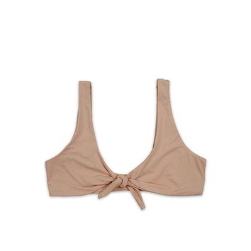 Kylie Front Tie Knot Seamless Bikini Top in Cameo Pink