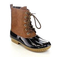 Women's Dylan Lace Up Two Tone Flannel Lined Winter Rain Duck Boots