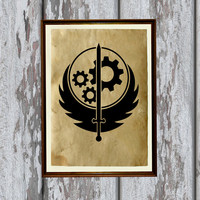 Fallout print Brotherhood of Steel Military decor Vintage paper 8.3 x 11.7 inches