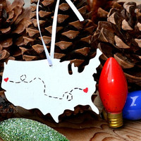 Wood US Map Christmas Tree Ornament - gift tag, two cities, long distance, best friends, moving gift, goodbye keepsake, rustic christmas