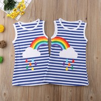 1-6Y Baby Kids Girls 2018 Sister Rainbow Striped Drops Summer Dress Party Sundress Summer Casual Clothes