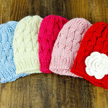 Cable Knit Beanie Flower Hat in Red for Women and Teens. Fits very comfy! Perfect gift!