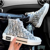 Dior CD letter film high-top sneakers New breathable street style hip-hop sneakers Men and women couples high-low top casual shoes-1