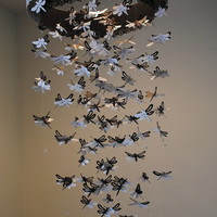 Paper Lace Chandelier Dragonfly  Mobile - black and white - Made to order