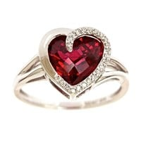 Sterling Silver Checkerboard Created Ruby Heart Diamond Ring (1/14 cttw, J-K Color, I2-I3 Clarity)