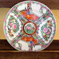Chinese Mandarin Rose Famille Plate Collectible Plate Gorgeous Asian Floral Design Plate, Rose Flowers Birds and People, Antique Asian Decor
