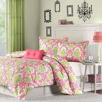 Twin Size Coral Pink White Light Olive Green Damask Comforter Set