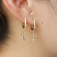 New Fashion Women boy Costume Jewelry Drop Earrings Cross CHARM Vintage PAVE CZ CROSS Gold-Color Women Crosses Earring