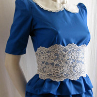 Blue Tiered Peplum Top...Ideal for work or play