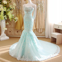 Beaded Sweetheart Mermaid Evening Dress Prom Gown with Lace Appliques