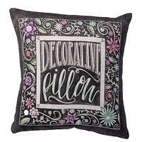 Decorative Floral Square Pillow in Black and White