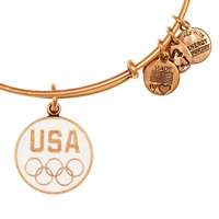 Alex and Ani USA 5-Ring Expandable Wire Bangle Blue Russian Gold
