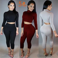 New 2016 Winter Women Two Piece Bodycon Jumpsuit Knee Length Long Sleeve Playsuit Sexy Club Elegant Rompers And Jumpsuits