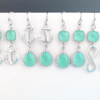 Choose Your Own Design and Color, Mint, Stone, Nautical, Marine, Anchor, Infinity, Gold, Silver, Earrings, Wedding, Friends, Gift, Jewelry